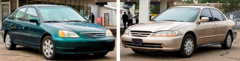 Photograph of 2001-2002 model Honda Civic and Accord