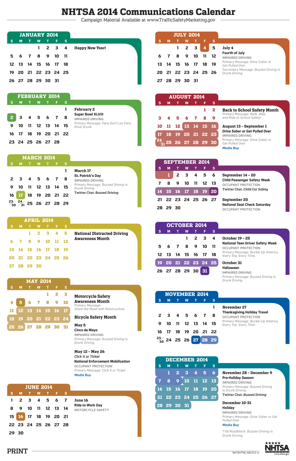 NHTSA | NHTSA 2014 Communications Calendar