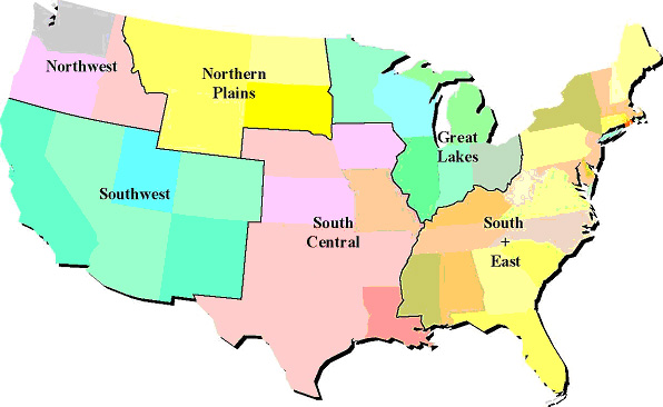 Us map broken down by regions